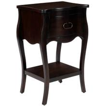 Crafted from mahogany veneer and wood products in a stylish and dramatic wood finish, this nightstand is perfect for stowing bedside essentials. This lovely nightstand showcases a single drawer with iron hardware, a scalloped apron and lower display shelf.