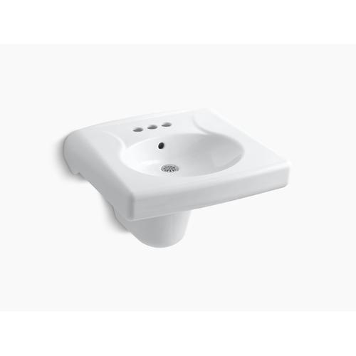 "White Wall-mounted or Concealed Carrier Arm Mounted Commercial Bathroom Sink With 4"" Centerset Faucet Holes and Shroud, Antimicrobial Finish"