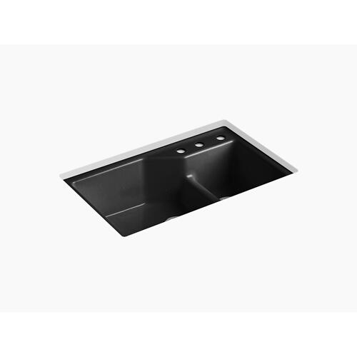 "Black Black 33"" X 21-1/8"" X 9-3/4"" Smart Divide Undermount Double-bowl Large/small Workstation Kitchen Sink With Three-hole Faucet Holes"
