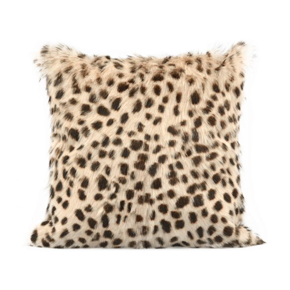 See Details - Spotted Goat Fur Pillow Cream