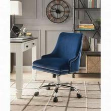 ACME Yuval Office Chair - 92500 - Blue Velvet & Chrome