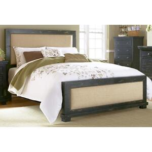 5/0 Queen Upholstered Bed - Distressed Black Finish