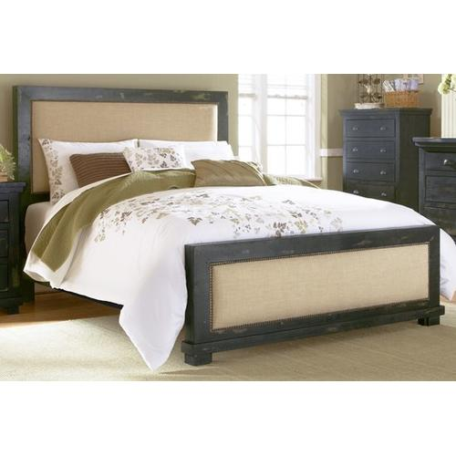 6/6 King Upholstered Headboard - Distressed Black Finish