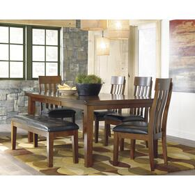 Ralene Dining Table W/4 Chairs and Bench Medium Brown