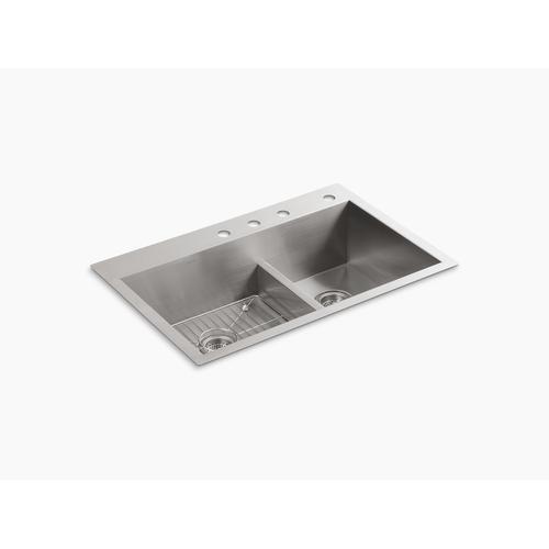 "33"" X 22"" X 9-5/16"" Smart Divide Top-mount/undermount Large/medium Double-bowl Kitchen Sink With 4 Faucet Holes"