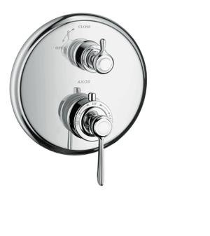 Chrome Thermostat for concealed installation with lever handle and shut-off valve Product Image
