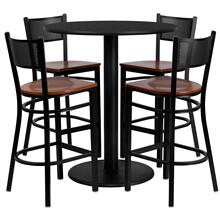 36'' Round Black Laminate Table Set with 4 Grid Back Metal Barstools - Cherry Wood Seat