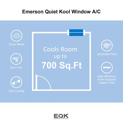 Emerson Quiet Kool - Emerson Quiet Kool SMART Window Air Conditioner,15,000 Btu 115V, With Wifi and Voice Control, Works with Amazon Alexa and Google Home, Energy Star Certified, EBRC15RSE1H