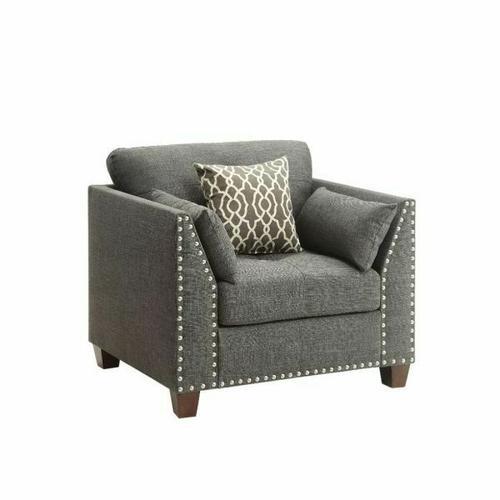 ACME Laurissa Chair w/3 Pillows - 52407 - Light Charcoal Linen