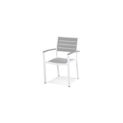 Polywood Furnishings - Eurou2122 Dining Arm Chair in Satin White / Slate Grey