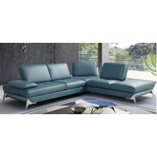 View Product - Nova Domus Andrea - Modern Blue Leather Right Facing Sectional Sofa