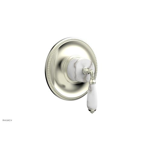 Phylrich - VALENCIA - Thermostatic Shower Trim, White Marble Lever Handle TH338B - Satin Nickel