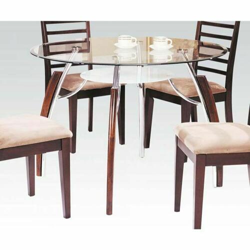 ACME Martini Dining Table - 08185 KIT - Brown Cherry - Chrome & Clear Glass