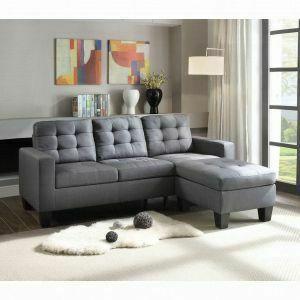 ACME Earsom Sectional Sofa - 52775 - Gray Linen