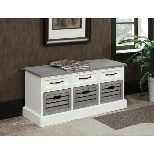Traditional White and Grey Bench
