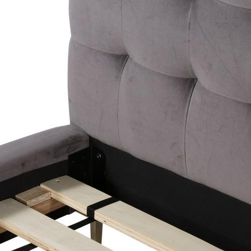 Four Hands - Queen Size Grey Velvet Cover Rennie Bed