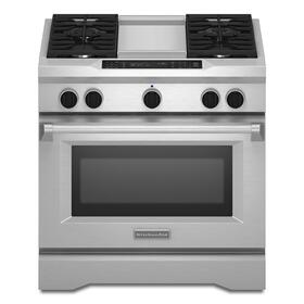 36'' 4-Burner with Griddle, Dual Fuel Freestanding Range, Commercial-Style Stainless Steel