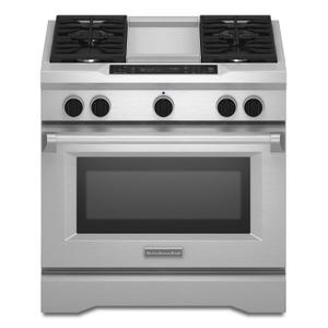 KitchenAid36'' 4-Burner with Griddle, Dual Fuel Freestanding Range, Commercial-Style Stainless Steel