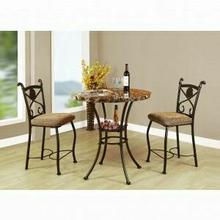 ACME Kleef 3Pc Pack Counter Height Set - 70560 - Brown Faux Marble & Dark Bronze
