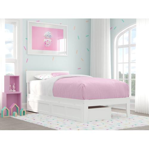 Boston Twin Bed with 2 Drawers in White