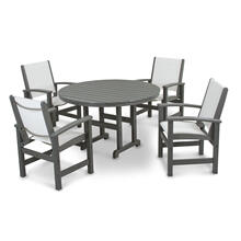 Slate Grey & White Coastal 5-Piece Dining Set