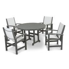 Slate Grey & White Coastal 5-Piece Dining Set
