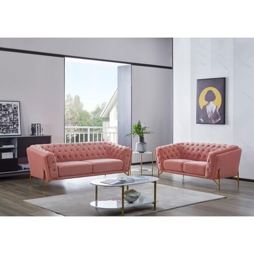 VIG Furniture - Divani Casa Aiken - Modern Salmon Velvet Sofa