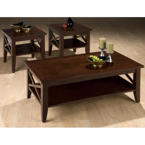 X Side Cocktail Cocktail Table W/ Shelf and Inlay Tops - Packed W/ 2 End Tables