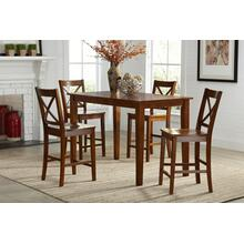 Simplicity Counter Height Table With 4 X Back Stools - Caramel