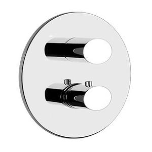 """Gessi - TRIM PARTS ONLY External parts for 3-way diverter thermostatic and volume control Single backplate 1/2"""" connections Vertical application Anti-scalding Requires in-wall rough valve 09279"""