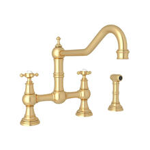 Edwardian Bridge Kitchen Faucet with Sidespray - Satin English Gold with Cross Handle