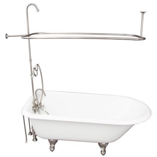 "Bartlett 60"" Cast Iron Roll Top Tub Kit - Brushed Nickel Accessories"