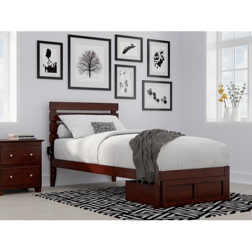Atlantic Furniture - Oxford Twin Extra Long Bed with Foot Drawer and USB Turbo Charger in Walnut