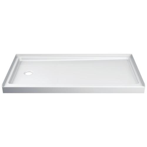 Delta Faucet Company - White ProCrylic 60 in. x 30 in. Shower Base Left Drain
