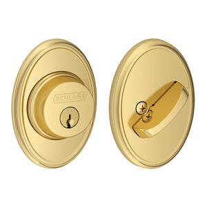Single Cylinder Deadbolt with Wakefield trim - Bright Brass Product Image