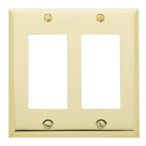 Polished Brass Beveled Edge Double GFCI Product Image