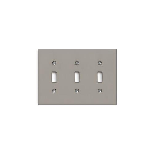 Brushed Nickel Modern Triple Switch Plate
