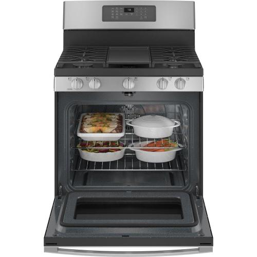 """Gallery - GE® 30"""" Free-Standing Gas Convection Range with No Preheat Air Fry"""