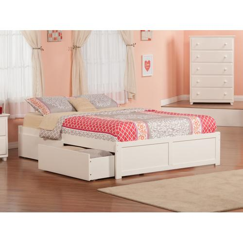 Concord King Flat Panel Foot Board with 2 Urban Bed Drawers White