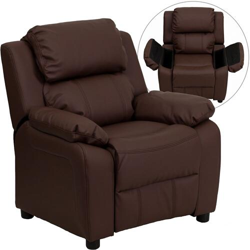 Deluxe Padded Contemporary Brown Leather Kids Recliner with Storage Arms