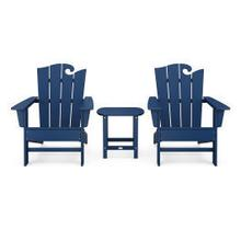 View Product - Wave 3-Piece Adirondack Set with The Ocean Chair in Navy