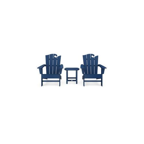 Polywood Furnishings - Wave 3-Piece Adirondack Set with The Ocean Chair in Navy