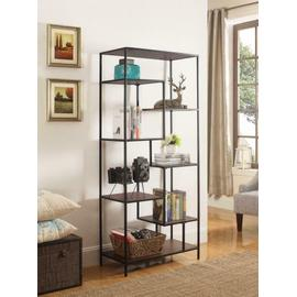 See Details - Industrial Walnut and Black Bookcase