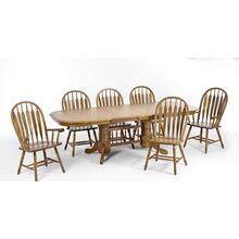 View Product - Laminate Top Double Pedestal Table and Solid Oak Chairs