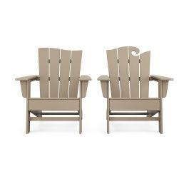 Polywood Furnishings - Wave 2-Piece Adirondack Set with The Wave Chair Left in Vintage Sahara