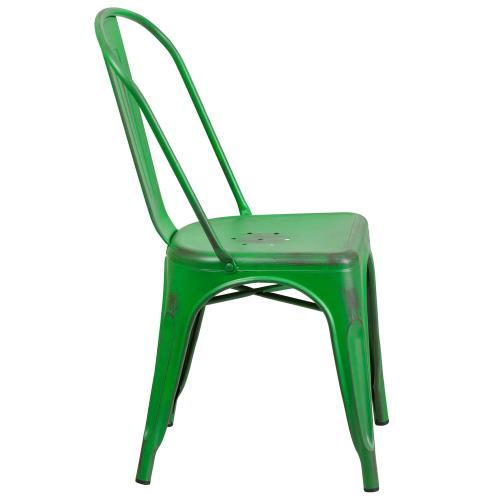 Distressed Green Metal Indoor-Outdoor Stackable Chair