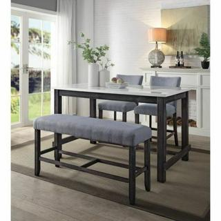 ACME Yelena Counter Height Bench - 72943 - Transitional - Wood (Hickory), Ply, Fabric, Foam - Fabric and Weathered Espresso