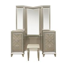 See Details - Vanity Dresser with Mirror and LED Lighting
