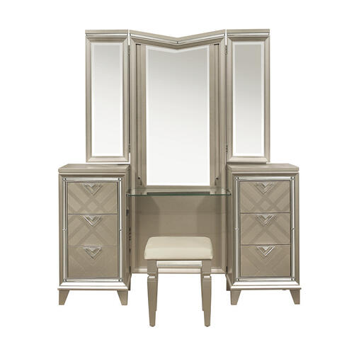 Vanity Dresser with Mirror and LED Lighting
