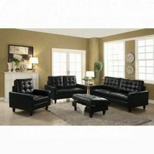 ACME Nate Ottoman w/Storage - 50268 - Black Leather-Gel